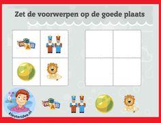 Zet de voorwerpen op de goede plaats met kleuters op digibord of computer op kleuteridee, Kindergarten educative game for IBW or computer