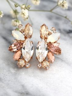 Rose Gold Champagne Cluster Earrings,Blush Bridal Earrings,Bridal Rose Gold…