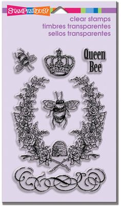 Stampendous Queen Bee - Perfectly Clear Stamp. Traditional garden images will create a beautiful card or scrapbook page celebrating your garden or the Queen Bee