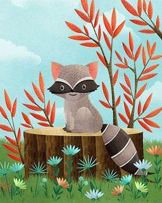 raccoon art print -- Woodland Friends Raccoon -  raccoon artwork, nursery, kids art, childrens room art, forest, grey, flower