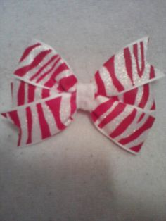 Small (3 in.) red/white sparkly zebra stripe pinwheel Christams bow