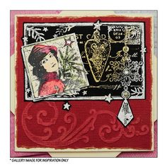 Crafty Individuals CI-369 - 'Postcard for Christmas' Art Rubber Stamp, 93mm x 80mm - Crafty Individuals from Crafty Individuals UK
