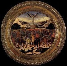 SCHEGGIA Triumph of Fame (a Birth Salver)  c. 1449 Tempera, silver and gold on wood, diameter 93 cm (with frame) Metropolitan Museum of Art, New York  This large tondo featuring the Triumph of Fame on its front side was painted to celebrate the birth of Lorenzo de' Medici who was later known as Lorenzo il Magnifico. This is one of many examples of such two-sided tondi painted for Florentine families, although exactly how they were used is still uncertain
