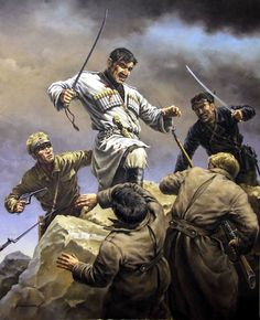 White Army Cossacks in combat, Russian Civil War