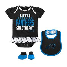 Carolina Panthers Little Sweet Bib, Bootie and Creeper Set  https://allstarsportsfan.com/product/carolina-panthers-little-sweet-bib-bootie-and-creeper-set/  Officially Licensed NFL Carolina Panthers Little Sweet Creeper, Bib and Bootie Set Adorable Creeper with Bold Smimmer Screen-print Skirted Bodysuit with Fold Over Neck and Polk Dot Details