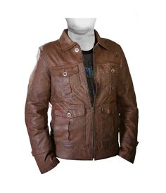 The Expendables: Jason Statham Light Brown Leather Jacket. #Fashion #leatherjacket #outfit #Menswear #Coat #Kids #Women #Jacket - For more queries visit: Slimfitjackets.com