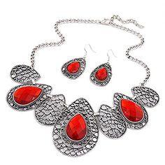 Vwhite Womens Luxury Drop Pattern Pendant Bib Necklace Hook Earring Jewelry Set Red