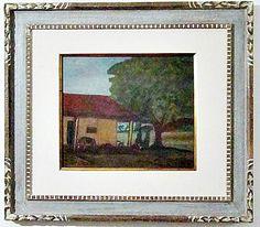 """ALFREDO VOLPI- """"Casa em Itanhaém"""", óleo sobre tela, dimensão 40 cm x 47 Cm, assinada no cant"""