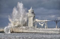 Ice. Lighthouse. Reminds me of Alaska. Ahh, the days of Alaska......part of me is still there <3