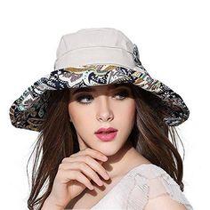 b9594e30e14 Packable Extra Large Brim Floppy Sun Hat Reversible UPF 50+ Beach Sun  Bucket Hat (Deep Blue-Dot