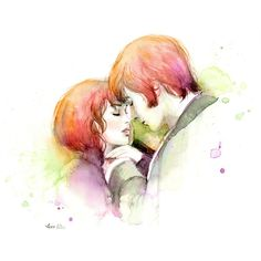 Watercolor painting - Couple in Love - Pride and Prejudice Movie... (€21) via Polyvore featuring home, home decor, wall art, couples, sketch, inspirational wall art, movie posters, ink painting, movie wall art and motivational paintings