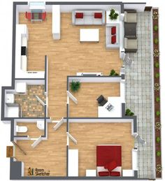 TRUE OR FALSE -- The plant wall on this vacation villa patio is pretty cool! Design with patio furniture, plant life & even computers: http://planner.roomsketcher.com/?ctxt=rs_com 3D floor plan with aerial view for a vacation villa designed in RoomSketcher Business Edition by ShapingColour