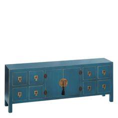 meuble bas chinois bleu canard le grenier de juliette - Canape Bas