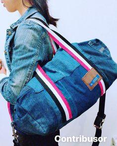 Upcycled denim gym bag - Contribusor by UpcycleDenimBag on Etsy Denim Branding, Denim Bag, Travel Bags, Sling Backpack, Messenger Bag, Gym Bag, Satchel, Sporty, Stylish