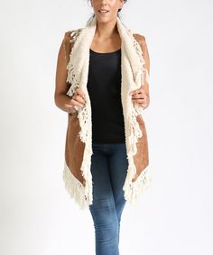 26577d4a5f5 Another great find on  zulily! Cognac Sherpa-Line Faux Suede Coat - Plus