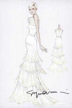 Armani designed bridal gown for Charlene Wittstock.