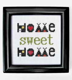 """Craft your own masterpiece at home with the help of this clever """"Home sweet home"""" cross-stitch kit."""