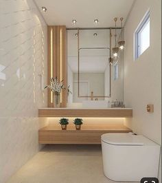 A simple toilet that is still sophisticated, the mixture of woody with white and details in gold brought a lot of charm to this… Bathroom Design Luxury, Modern Bathroom Design, Home Interior Design, Lavabo Design, Washbasin Design, Vanity Design, Toilet Design, Home Decor Kitchen, Bathroom Furniture