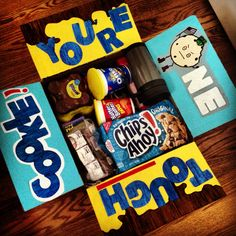 Cookie care package- I included nesquik chocolate milk, Chips Ahoy, Oreos, Nutter Butters and a cup so he can dip his cookies in milk.