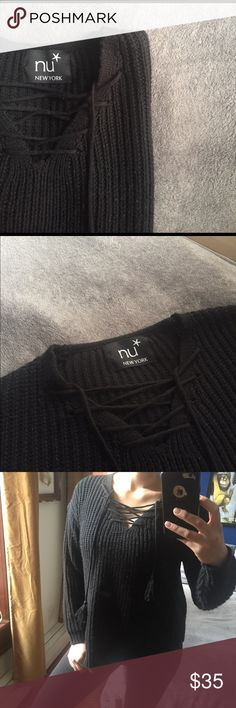 """Cozy Lace-up Sweater Warm sweater with cute cross-cross collar detail and tassels ✨ Normal wear, minor pilling. 💥For sizing- I'm a size medium (5'6"""" 34D bust) Comment below with any questions👇🏽 Offers welcome🤑 IG: clare_naupaka nu New York  Sweaters V-Necks"""