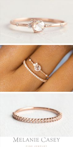 Flurry Ring with Petite Many Moons Band - The dainty Flurry Ring is a perfect petite engagement ring, with a rose cut diamond focal, a delica - Engagement Ring Rose Gold, Petite Engagement Ring, Classic Engagement Rings, Beautiful Engagement Rings, Non Traditional Engagement Rings Vintage, Engagement Rings Stone, Unconventional Engagement Rings, Perfect Engagement Ring, Cute Rings