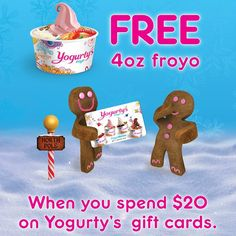 """@yogurtys's photo: """"Free #Yogurtys? Yes!!!  until Dec 31, get 4oz of self-serve frozen yogurt and toppings for #free when you buy $20 worth of Yogurty's gift cards! Free 4oz must be redeemed at the time of gift card purchase. Ask in store for more details."""""""