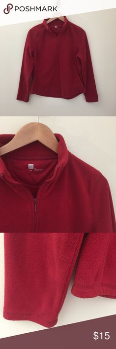 "Gap red lightweight fleece 1/4 zip pullover M Gap red fleece pullover.  Deep red, soft stretchy lightweight fleece, 1/4 zip mock t-neck, embroidered logo on left chest, rounded hemline.   Size:  M  Condition: excellent pre-owned.   Material: 100% polyester.   Measurements (approximate, taken flat): length from shoulder 22"", pit-to-pit 20"", flat hip/hem 20.5"", sleeve 24"".  Bundle your likes for a custom private offer, or submit your own personal offer! GAP Tops Sweatshirts & Hoodies"