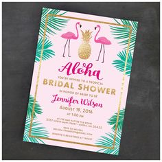 Tropical Flamingo Bridal Shower Invitation. Gold pineapple, lush palms - a fresh take on a bridal shower party.