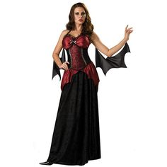 Alluring Vampiress Costume for Women ($45) ❤ liked on Polyvore featuring costumes, halloween costumes, multicolor, sexy halloween costumes, sexy black costume, womens costumes, vampire bat costume and vampire costume