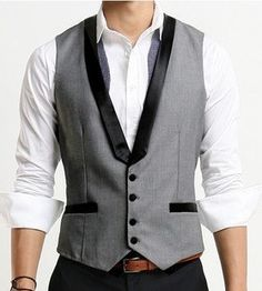 Fashion Classic Stylelish Contrast Collar Mens Vest Custom made 0682. $29.00, via Etsy.