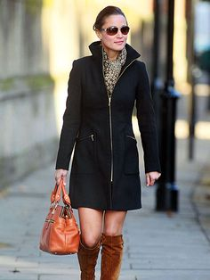 Pippa::  this coat would be flattering on anyone.  Pair with a scarf, tan boots, awesome handbag, and you're good to go.