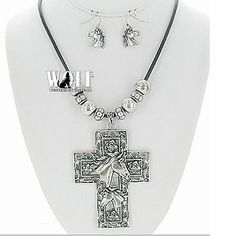New Western Cowgirl Horse Cross Roses Bling Head Women's Necklace Earring Set | eBay