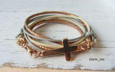 Wickelarmband aus Leder ★ Kreuz ★ roségold grau von charm_one Perlenunikate      auf DaWanda.com