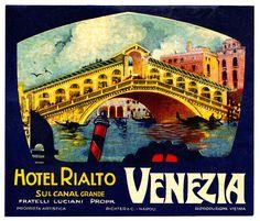ITALY VENICE  Venezia - Hotel Rialto   by Luggage Labels by b-effe