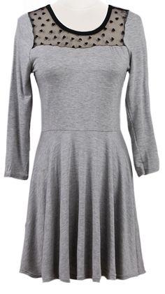 Grey Long Sleeve Contrast Mesh Yoke Pleated Dress