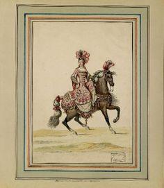 """Jean Berain (1640-1711) - """"Carrousel des Galans Maures de Grenade entrepris par Monseigneur le Dauphin à Versailles"""" (4-5 juin 1685) – Dame de la Quadrille du Dauphin - Paris, Bibliothèque de l'Institut National d'Histoire de l'Art"""