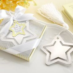 """A Star is Born"" bookmark baby shower party favor. So cute and the silver star and packaging colors are perfect!"