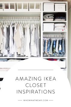 Let these amazing IKEA closets inspire your next closet clean-out. Ikea Closet Design, Ikea Closet Organizer, Closet Designs, Closet Bedroom, Master Closet, Closet Space, Bedroom Storage, Closet Clean, Cleaning Closet