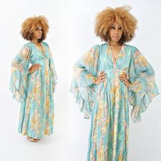 vintage colorful 70s boho empire waist BUTTERFLY sleeve MAXI dress by PasseNouveauVintage, $98.00
