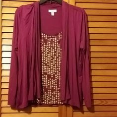 Layered look cardigan Pretty purple faux layered cardigan. Front purple with grey dots and long sleeve attached flyaway cardigan Charter Club Tops Blouses