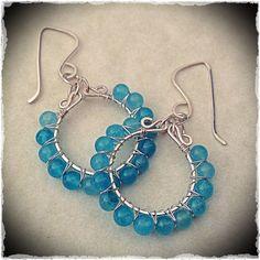 Handmade sterling silver hoop earrings, wire wrapped with aqua jade gemstones- Meredith Terry Earrings on Etsy, $28.00