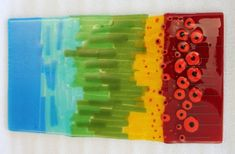 Fused glass poppies made at GRT Glass Design play day