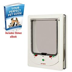 Electromagnetic Large Cat Flap 4-Way Locking System Allows You to Set The Flap to Unlocked, In Only, Out Only or Locked - ideal for a Variety of Door Types Includes BONUS eBook series 'YOUR PERFECT PET GUIDE BY E-COMMERCE EXCELLENCE'. * Want to know more, click on the image. #CatFlaps, Steps and Outdoor Nets