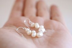 White Pearl earrings. Sterling silver earrings with sweet water cultivated white Pearls. White pearl dangles, pearl dangles, silver dangles. by masaoms on Etsy