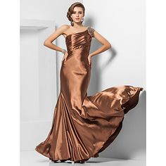 Formal Evening/Military Ball Dress - Brown Plus Sizes Trumpet/Mermaid One Shoulder Floor-length Stretch Satin – USD $ 49.99