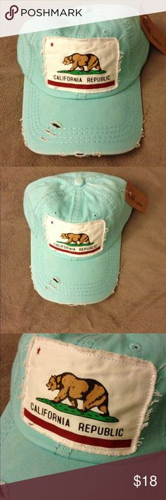 Vintage cotton California republic adjustable cap Light turquoise one size fits all with adjustable strap.  100% cotton vintage with California republic patch.  Vintage finish Accessories Hats