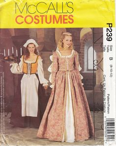 McCalls 2793 Elizabethan Tudor Costume, Lady and Lady in Waiting, Servant Girl, Bodice, Skirt, Corset, Blouse, Apron, Bonnet, Juliet Cap by CedarSewing