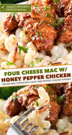 4 Cheese Mac and Cheese with Honey Pepper Chicken – The Chunky Chef This is the PERFECT Applebee's copycat recipe! Creamy 4 cheese mac and cheese is topped with a sweet and sticky honey pepper chicken. Pasta Recipes, Chicken Recipes, Cooking Recipes, Healthy Recipes, Chicken Mac And Cheese Recipe, Gourmet Mac And Cheese, Fondue Recipes, Al Dente, Sweets