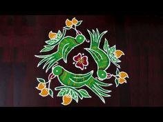 Ugadi Rangoli | 5x3 Middle Dots | Parrot Rangoli | Simple Ugadi Rangoli | Ugadi Special Muggulu - YouTube Simple Rangoli With Dots, Rangoli Simple, Rangoli Designs With Dots, Rangoli Designs Diwali, Beautiful Rangoli Designs, Kolam Designs, Half Saree Designs, Blouse Designs, Special Rangoli