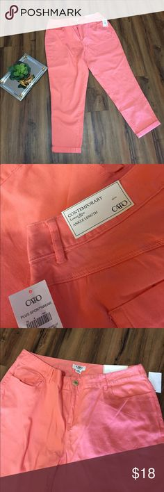 Cato's Ankle Length Pants Cato.  Size 16W. NTW.  Coral colored ankle length Capri pants.  Inseam is approximately 25 inches. Cato Pants Ankle & Cropped